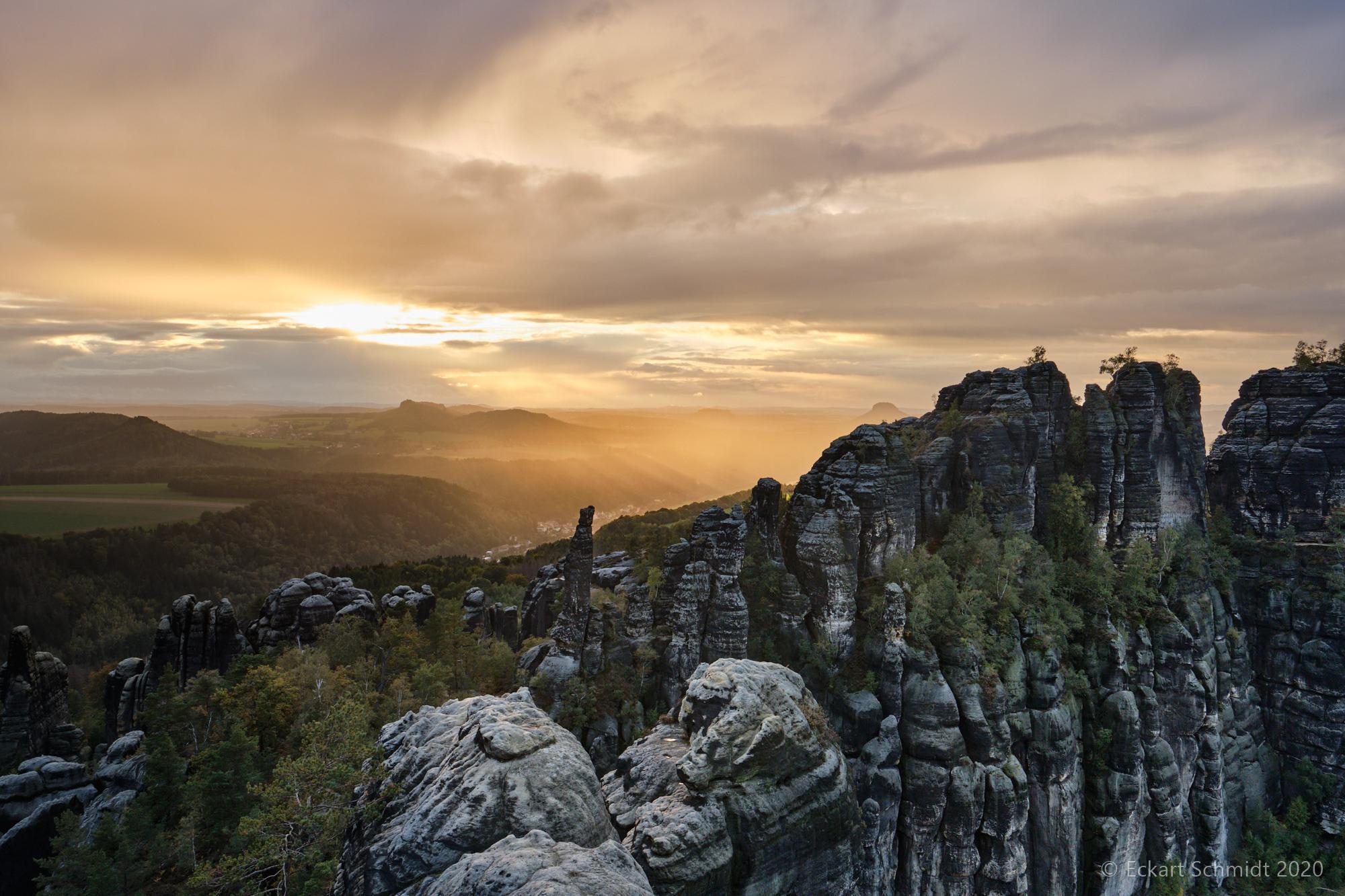 Sonnenuntergang auf den Schrammsteinen